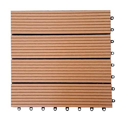 (Everlasting Outdoor-Plastic Composite Interlocking Decking Tile - Light Brown (Set of 11 tiles))