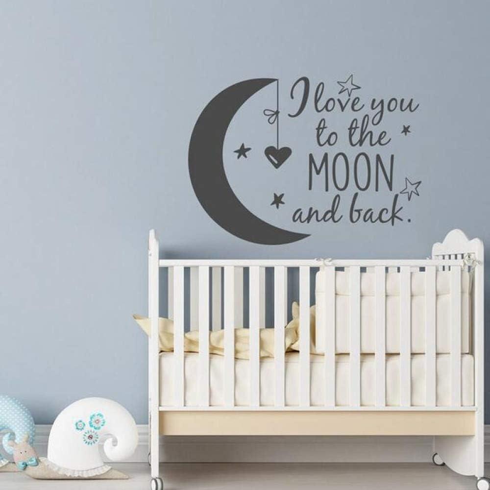 yiyiyaya Pegatinas de Pared Luna Estrellas Corazón Vinilo Extraíble Cita Calcomanía Te Amo a la Luna y Volver Home Mural Negro 57x81cm: Amazon.es: Hogar