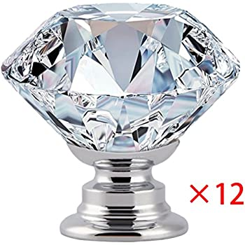 Cabinet Dresser Knobs 12PCS 30mm , YIODU Crystal Diamond Glass Drawer Knobs  Handles Gift For Cabinet