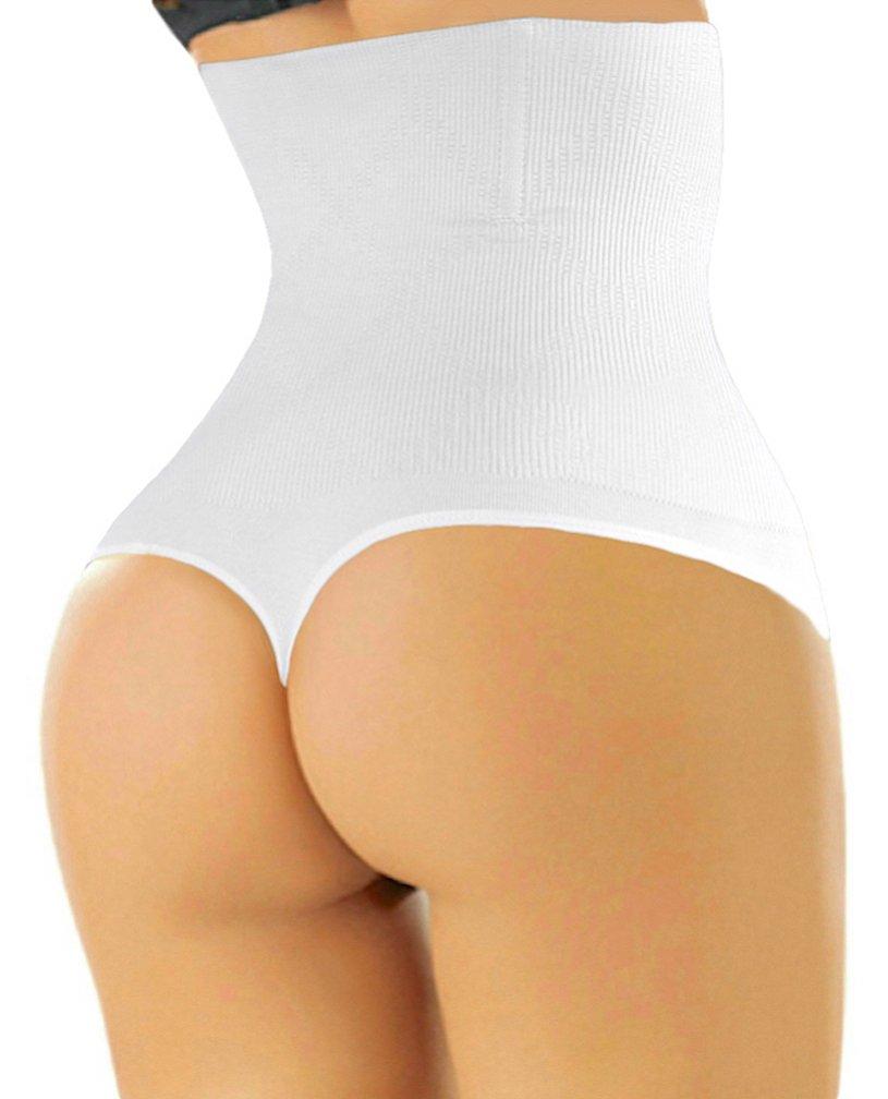 ShaperQueen 102 Thong - Women Waist Cincher Girdle Tummy Slimmer Sexy Thong Panty Shapewear (M, White)