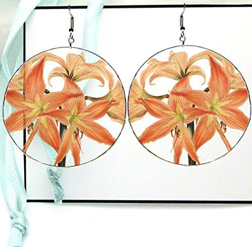 Tiger Lily Flower Dangle Drop Hoop Earrings, Soft Orange Antique Original Plant Art Print Resin with Silver Ear -