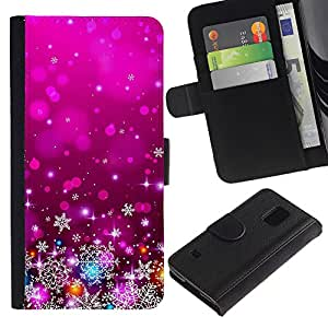 iBinBang / Flip Funda de Cuero Case Cover - Xmas Christmas Purple Lights Decor - Samsung Galaxy S5 V SM-G900