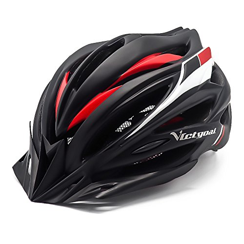 VICTGOAL Bike Helmet with Detachable Visor Back Light & Insect Net Padded Adjustable Sport Cycling Helmet Lightweight Bicycle Helmets for Adult Men and Women Youth Teenagers (Black Red) Review