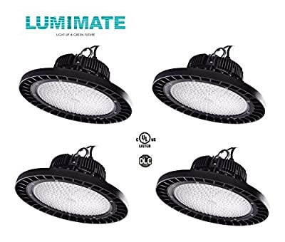 Lumimate 200 Watt UFO LED High bay Light,22000lm, 5000K natural white, With dimmable cable +0-10V sensing function, Warehouse LED Lights, Waterproof, Super Bright Commercial Lighting (UL,DLC) 4-Pack