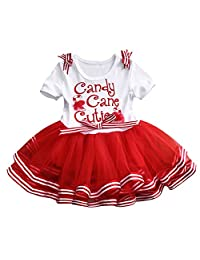 ONE'S Toddler Girls Christmas Tutu Dress Bow-Knot Candy Ruffle Tulle Xmas Outfits