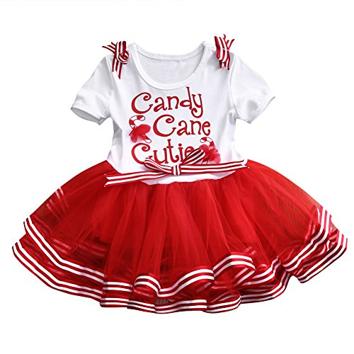 Toddler Girls Christmas Tutu Dress Bow-knot Candy Ruffle Tulle Xmas Outfits (1-2 Years, Red) -
