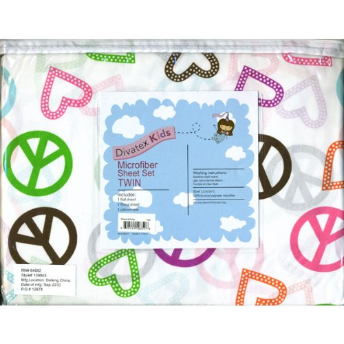 UPC 806222403526, Divatex Kids Peace and Polka Hearts Microfiber Twin Sheet Set
