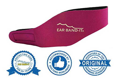 Magenta Print Unit - Ear Band-It Swimming Headband - Invented by Physician - Keep Water Out, Hold Ear Plugs in - The Original Swimmer's Headband - Doctor Recommended - Secure Earplugs (Magenta, Medium (Ages 4-9))