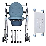 Folding Lightweight Commode Chair Aluminium Bathroom Toilet Seat Seat Belt Wheel / Disability ? Elderly Mobility Aid Walking Chair