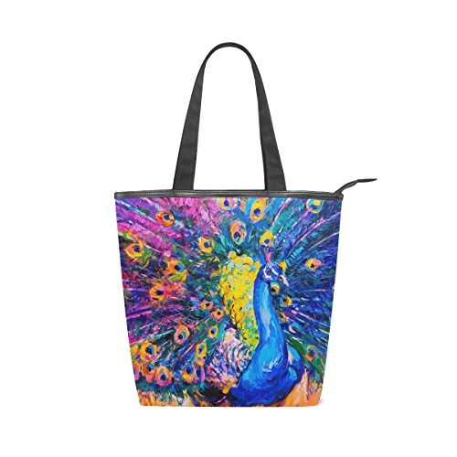 Handbag Bag Tote Oil Canvas Shoulder MyDaily Peacock Womens Painting T68Pc