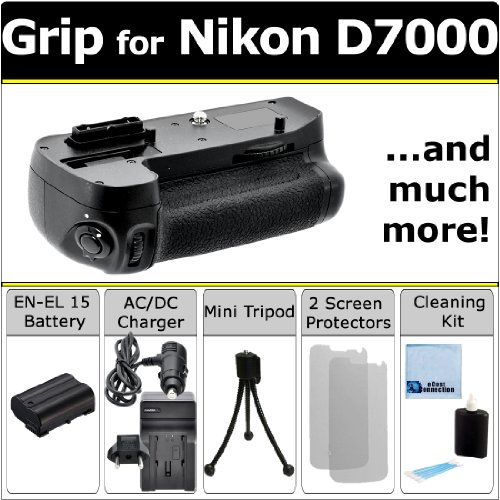 eCost Professional D7000 Multi-Purpose Battery Grip for Nikon D7000 SLR Camera + EN-EL15 Long Life Battery + AC/DC Turbo Charger w/ Travel Adapter + Complete Deluxe Starter Kit (MB-D11 MBD11)