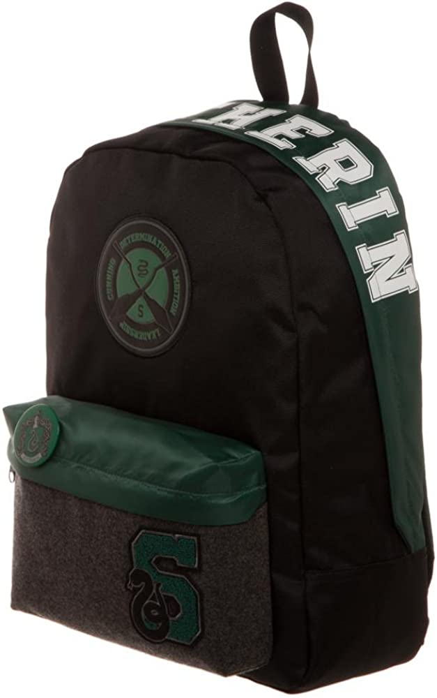 Harry Potter House Slytherin Backpack, Harry Potter Slytherin Backpack, Hogwarts Alumni Bag with Button Pin, Quidditch