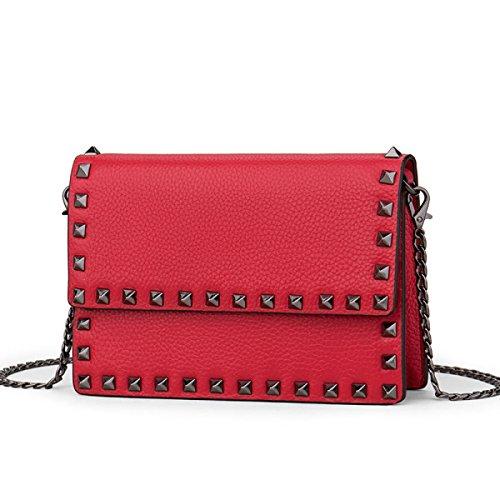 GSHGA Nuevos Bolsos De Moda Diagonal Paquete De Cadena Pequeño Paquete Cuadrado Top-Handle Bags Totes,Beanpink Red