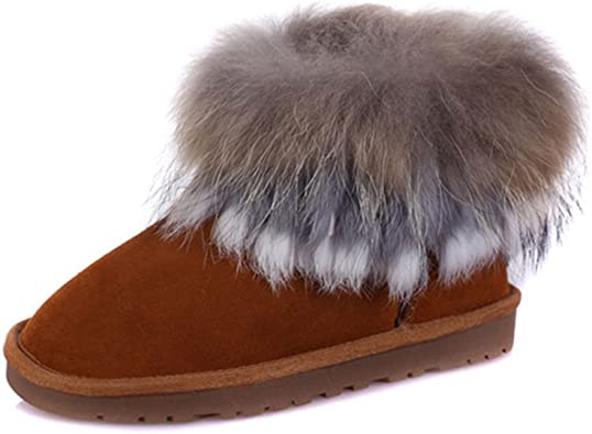 Women Snow Boots Casual Round Toe Slip On Ankle Boots Sweet Fox Design Winter Shoes Warm Booties