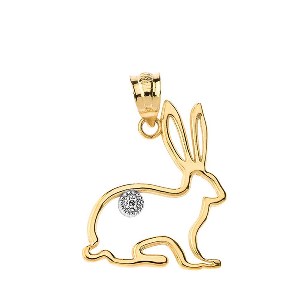 Fashion 10k Yellow Gold Diamond Outline Bunny Pet Rabbit Charm Pendant
