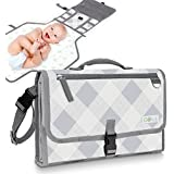 Gokidi Portable Baby Changing Pad – Diaper Bag Clutch Unfolds to Diaper Change Station - Detachable Waterproof Mat - Wipes Clean, Non-Slip Straps, Pockets for Wipes and Accessories – Plaid