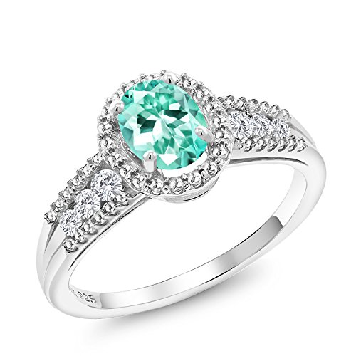 Gem Stone King 1.00 Ct Oval Blue Apatite 925 Sterling Silver Ring (Size 8) ()