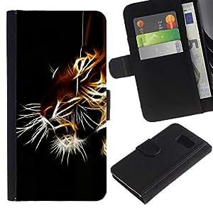 Samsung Galaxy S6 / SM-G920 , la tarjeta de Crédito Slots PU Funda de cuero Monedero caso cubierta de piel ( Tiger Iridescent Black Animal Nature)
