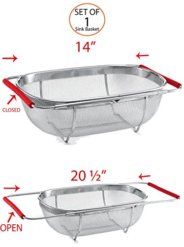 Stainless Steel Mesh Sink Basket, 18/8 Quality Stainless-Steel Construction with Expandable Handles - Generous Capacity, Multipurpose