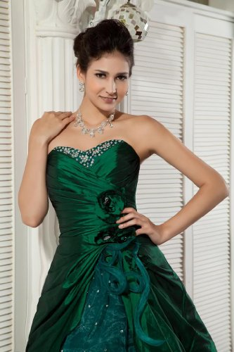 dunkelgruenen Elegant BRIDE Satin Grün GEORGE Abendkleid knielangen A4wqTE7