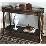 Ashley Furniture Signature Design - Mantera Sofa Table - Entertainment Console Table - Rustic Style - Rectangular - Dark Brown with Beveled Glass Top