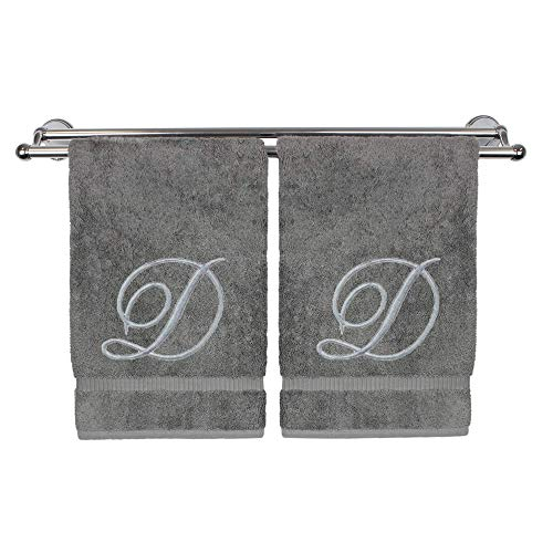 Monogrammed Hand Towel, Personalized Gift, 16 x 30 Inches - Set of 2 - Silver Embroidered Towel - Extra Absorbent 100% Turkish Cotton- Soft Terry Finish - for Bathroom, Kitchen and Spa- Script D Gray
