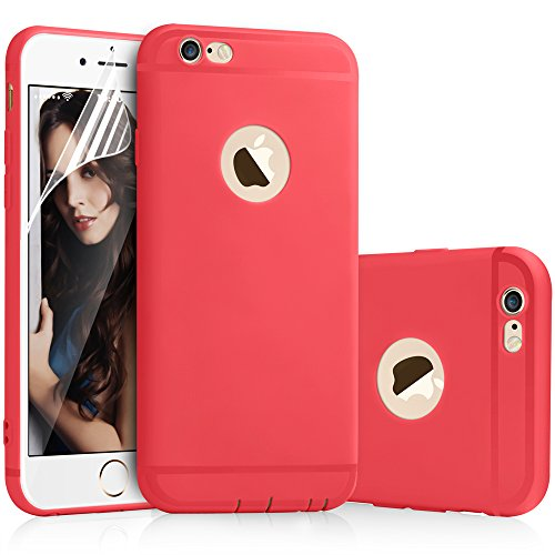 iPhone 6 Plus Case iPhone 6s Plus Case Red - Aksuo Thinnest Light Minimal Anti-Scratch Soft Back Skin Cover and Nano Soft Flim Screen Protector For Apple iPhone6 iPhone6s Plus 5.5 inch