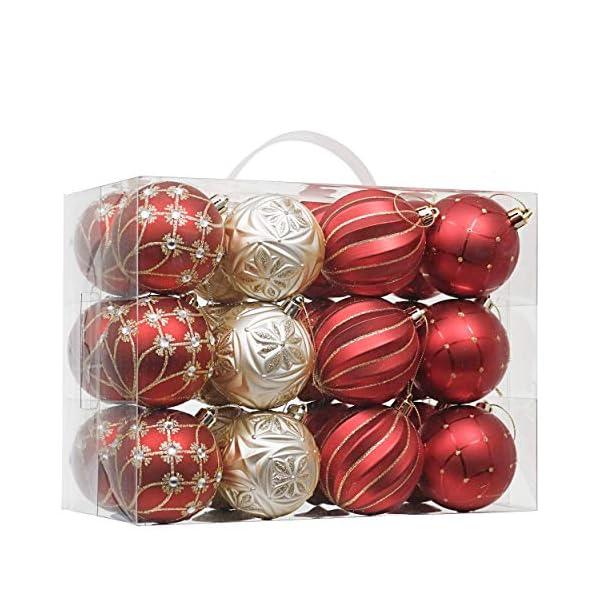 Valery Madelyn Palle di Natale 24 Pezzi 7cm Palline di Natale, Ornamenti di Palla di Natale Infrangibili di Lusso Rosso e Oro per la Decorazione Dell'Albero di Natale 1 spesavip