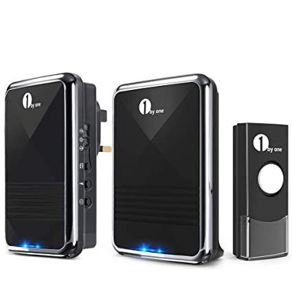 1byone Easy Chime Wireless Doorbell Door Chime Kit, 1 Plug-in Receiver & 1  Battery Operated Receiver & 1 Push Button with CD Quality Sound and LED