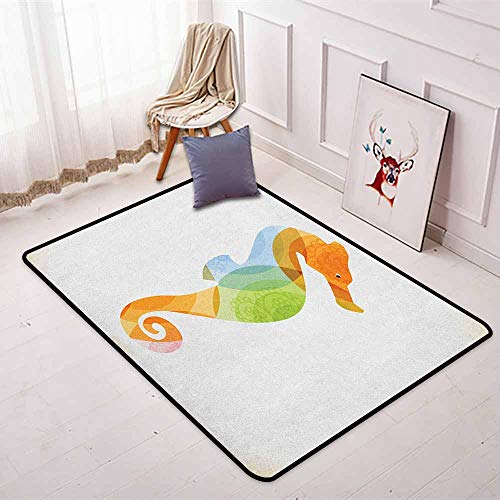 (Animal Non-Slip Absorbent Carpet Silhouette of Sea Creature with Coral Reef Patterns Inside Aquarium Icon Print Better underfoot Protection W47.2 x L71 Inch Orange Green)