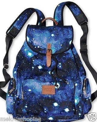 Victoria's Secret PINK Backpack Galaxy Canvas School Handbag Book Bag Tote RARE!