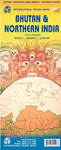 Bhutan & Northeast India Travel Reference Map 1:350K/1:1.3M