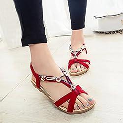 Summer Shoes For Women, Tenworld Beach Roman Flat Sandals Shoes (8, Red)