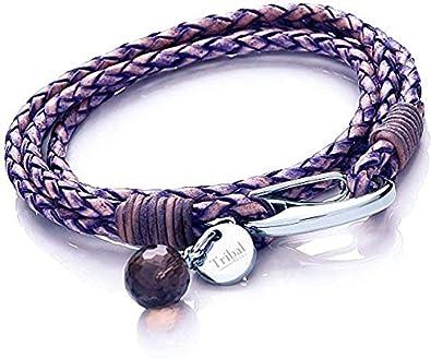Pulsera de Cuero Azul Violeta con Dije para Mujer, Pulsera de Cuero de Múltiples Tiras con Cierre de Reasa, Dije de Cristal + Disco 19cm, de Tribal Steel