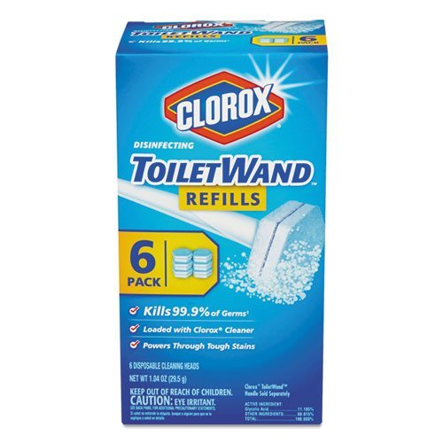 Clorox Disinfecting Toilet Wand Refill Heads, 6 Refills Per Pack, Sold as 2 Packs