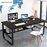 ZFY Computer Desktop Table,Household Work Student Desk,Desk Solid Wood Economic Type Game Dining No Peculiar Smell Environmental Protection/Black / 1407073cm