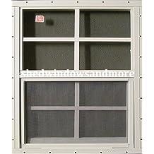 "24"" X 27"" Shed Window Aluminum Frame SAFETY/TEMPERED GLASS Storage Sheds Playhouse Tree House (White Flush)"
