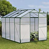 Giantex Walk-in Garden Greenhouse Outdoor Portable w/ Polycarbonate Roof Aluminum 8.2x6.2ft Green