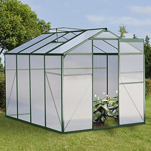 Giantex Walk-in Garden Greenhouse Outdoor Portable w/ Polycarbonate Roof Aluminum 8.2x6.2ft Green by Giantex