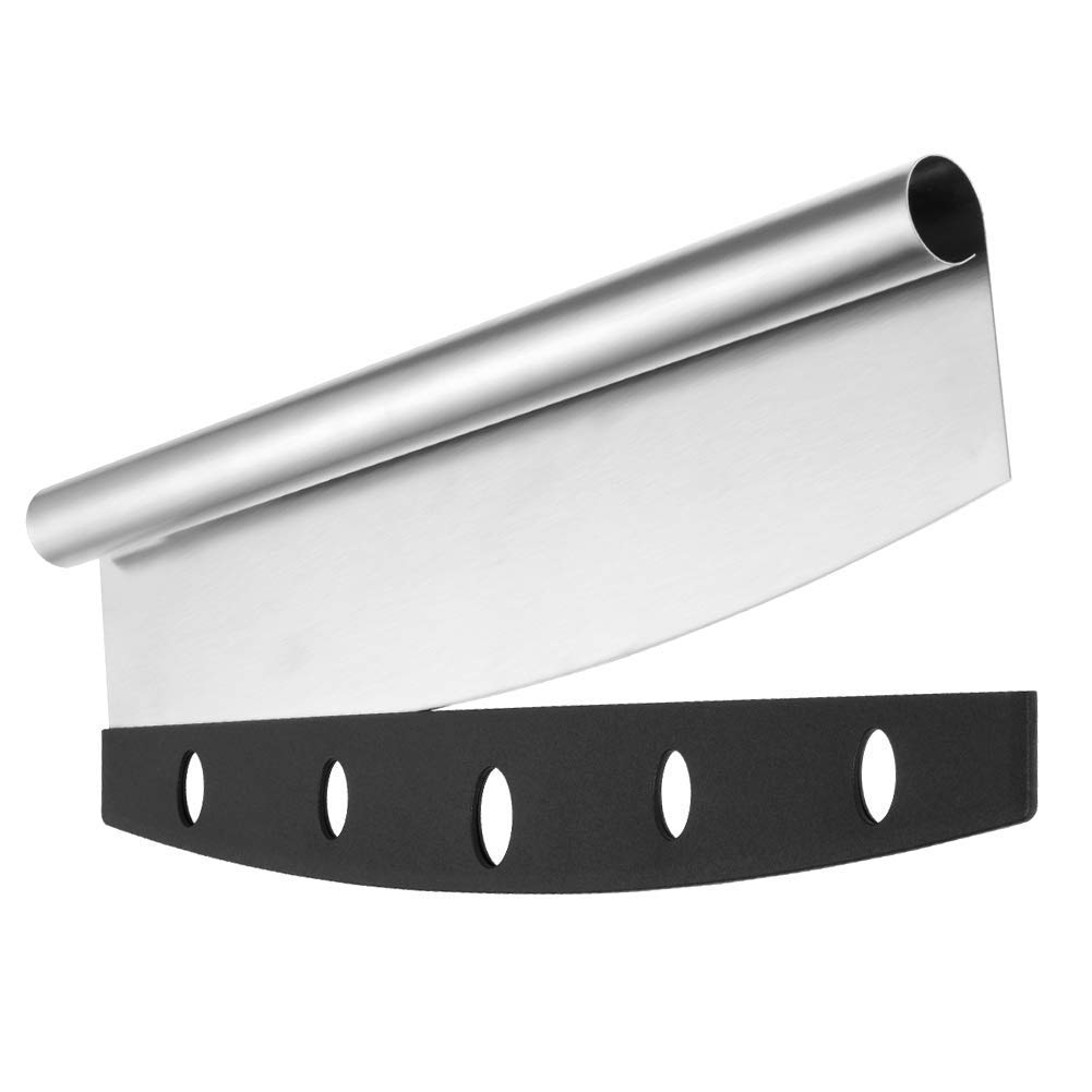 """Pizza Cutter Rocker Blade Style with Cover, 14"""" Sharp Pizza Knife Slicer, Safe Grip Heavy Duty Food Grade 18/8 Stainless Steel Dishwasher Safe Pizza Chopper, Pizza Recipe Ebook Included"""