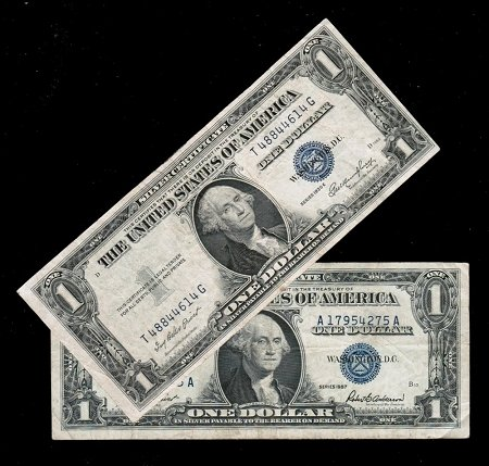 - 1935 and 1957 Silver Certificates Blue Seal set of 2 Very Good