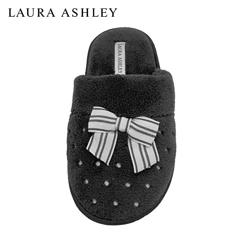 laura-ashley-ladies-soft-terry-slippers-with-scuff-dots-and-embroidered-bow-in-black-size-m