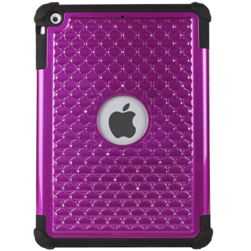 DWLux Embedded Diamond Faceplate and Skin Cover for Apple iPad Air 9.7 inch Tablet (Purple) and Screen Protector and TM Wristband
