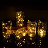 Yzan Mason Jar Fairy Canning Light Set Included 5 Pack Warm White LED Solar Light with 5 Stainless Handles and 10 PVC Cards for Christmas Light Garden Decor (Jars Not Included)