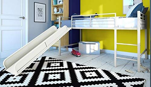Loft Bed With Stairs-Toddler Loft Bed- White Metal Twin with Slide - Give Your Child