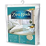 Zip and Block Extra Soft Block Anti Allergen Bed Bug Proof Breathable Waterproof Mattress Encasing, White, Twin
