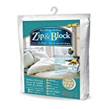 Zip and Block Extra Soft Block Anti Allergen Bed Bug Proof Breathable Waterproof Mattress Encasing, White, King