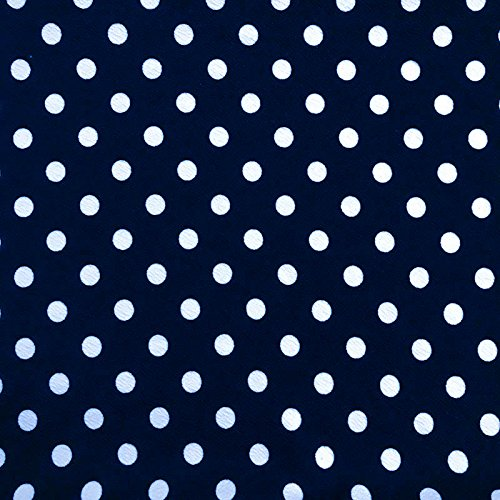 Navy and Off White Polka Dot Pattern Printed on Liverpool Stretch Knit Fabric (Polka Dot Upholstery)