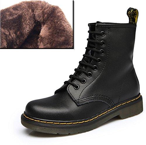 01 Damen Herren Boots Winter Bootsschuhe Erwachsene Schnürhalbschuhe Schwarz Honeystore Derby Kurzschaft Stiefel mit Unisex für Pelzfutter ORqWwxPS