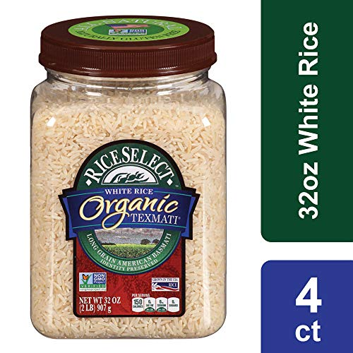 RiceSelect Organic Texmati White Rice, 32 oz Jars (Pack of 4)